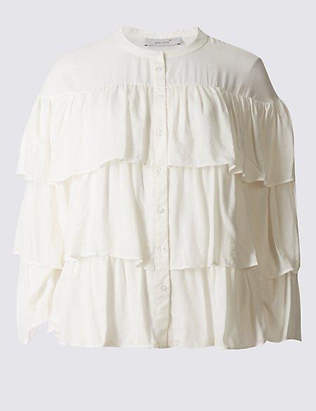 Pure Modal Ruffle Layer Long Sleeve Blouse