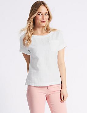 Pure Linen Round Neck Short Sleeve Blouse