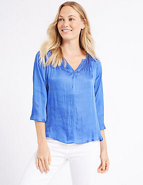 Satin V-Neck 3/4 Sleeve Blouse