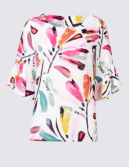 Linen Rich Printed Ruffle Sleeve Blouse