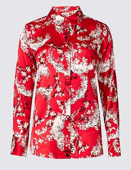 Floral Print Satin Long Sleeve Shirt