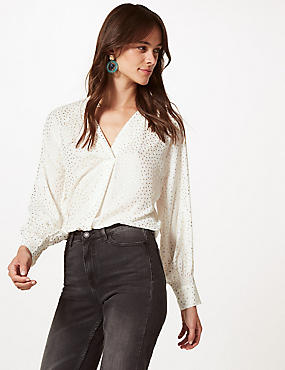 Sparkly V-Neck Long Sleeve Blouse