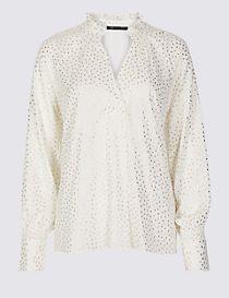 Sparkly V-Neck Long Sleeve Blouse