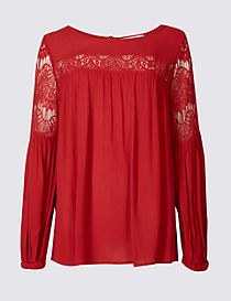 Crinkle Lace Slash Neck Long Sleeve Blouse