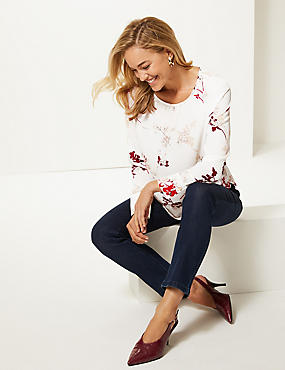 Floral Print Raglan Long Sleeve Blouse