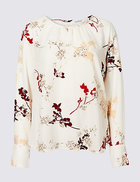 Floral Print Raglan Long Sleeve Blouse