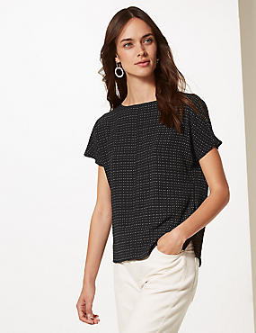 Spotted Round Neck Short Sleeve Shell Top