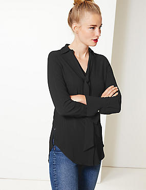 V-Neck Longline Long Sleeve Blouse
