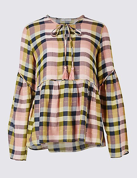 Cotton Rich Checked Long Sleeve Blouse