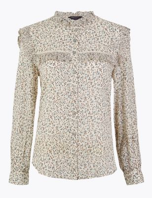 Cotton Blend Floral Print Blouse by Marks & Spencer