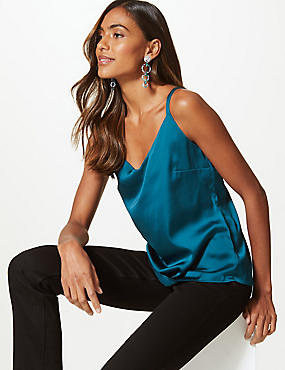Satin V-Neck Vest Top, NAVY, catlanding