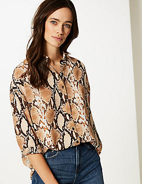 Oversized Animal Print Long Sleeve Shirt