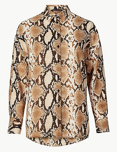 Oversized Animal Print Long Sleeve Shirt
