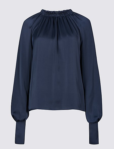 Satin Round Neck Long Sleeve Blouse