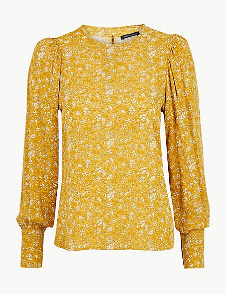 Floral Print Long Sleeve Shell Top