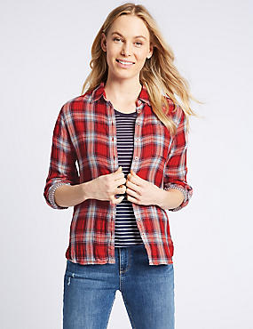 Cotton Blend Checked Long Sleeve Shirt