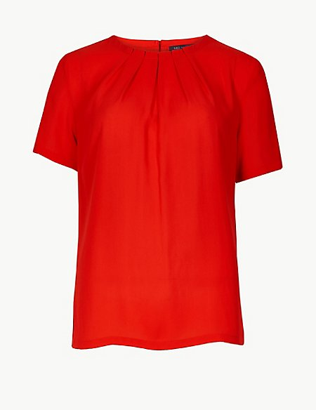 Round Neck Short Sleeve Shell Top