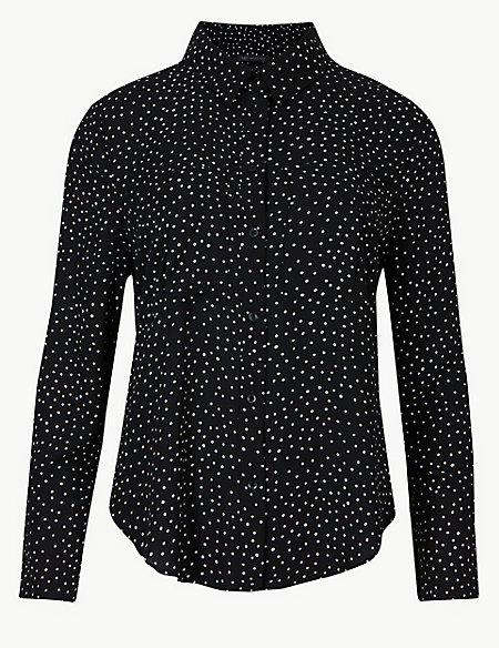 PETITE Polka Dot Long Sleeve Shirt