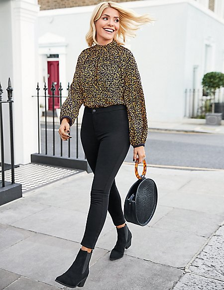 Animal Print High Neck Blouse