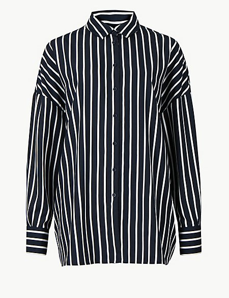 Oversized Striped Long Sleeve Shirt