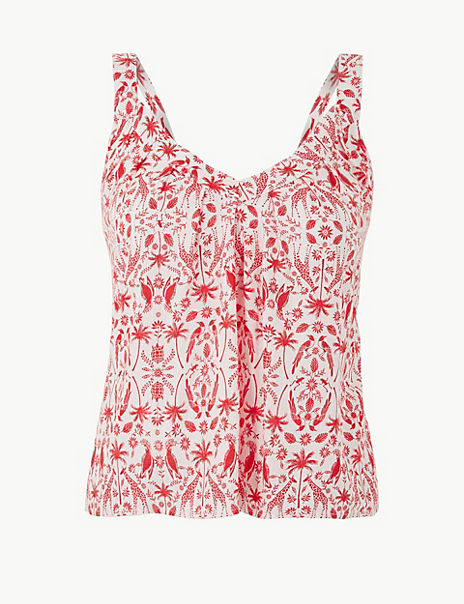Linen Rich Printed Camisole Top