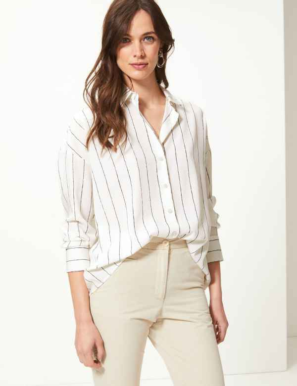 90ca6b1a Oversized Striped Button Detailed Shirt. M&S Collection