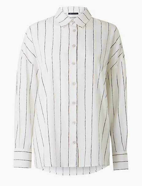 Oversized Striped Button Detailed Shirt
