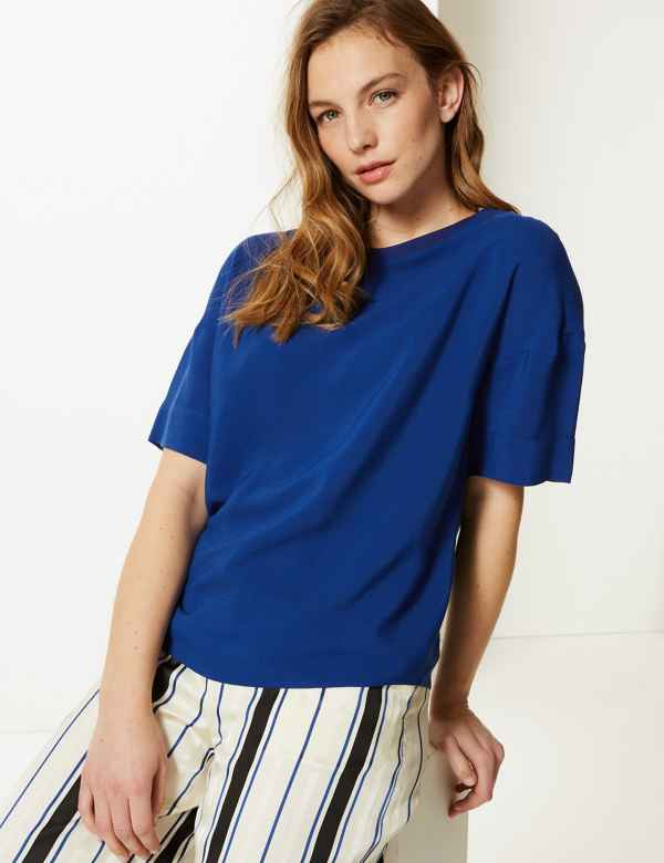 79fb15f464 Round Neck Short Sleeve Shell Top