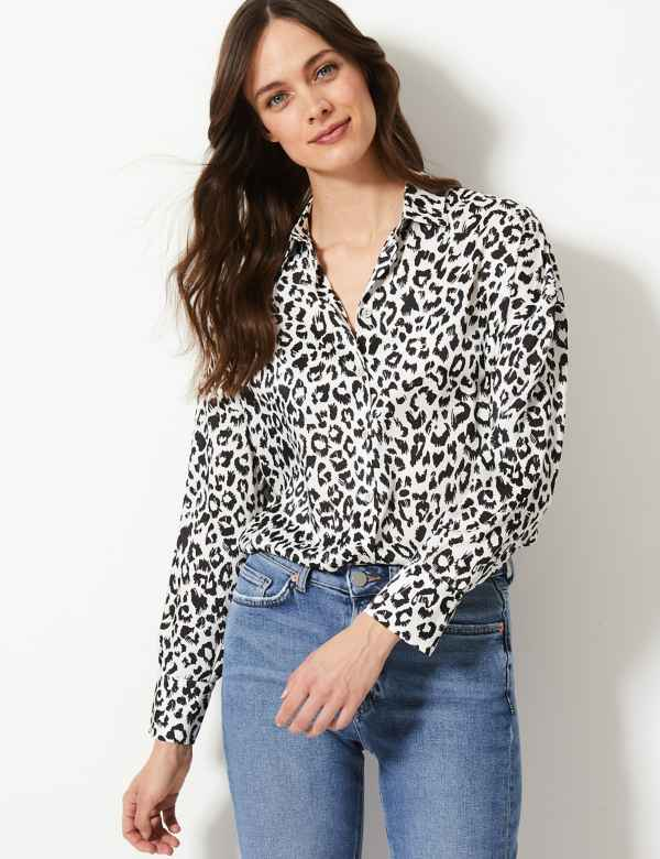1e4ac76268fa9f Oversized Satin Animal Print Shirt. Online Only. M&S Collection