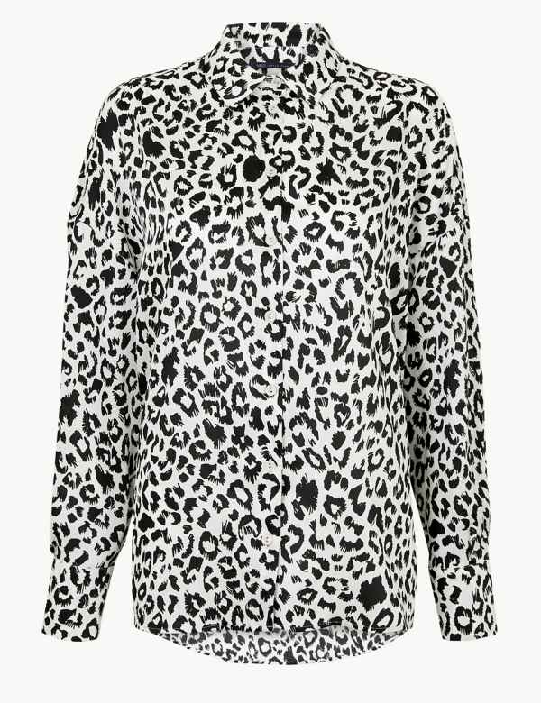 1300dd4feb3 Oversized Animal Print Long Sleeve Shirt