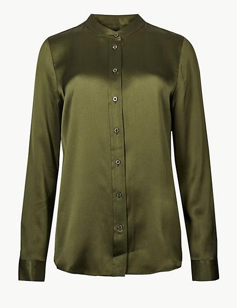 Pure Silk Button Detailed Shirt