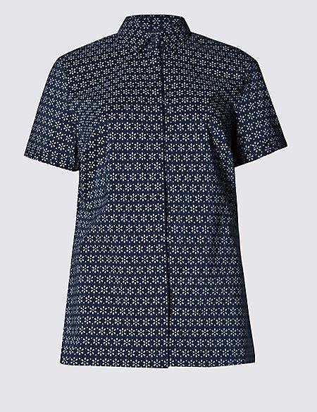 Cotton Rich Floral Print Short Sleeve Shirt