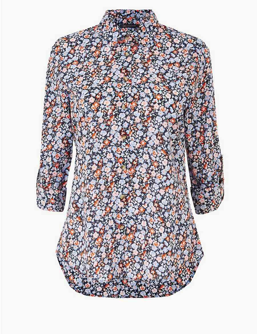 63c35cf70c8ca Pure Cotton Floral Print Long Sleeve Shirt
