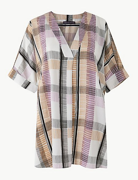 CURVE Checked Longline Short Sleeve Tunic