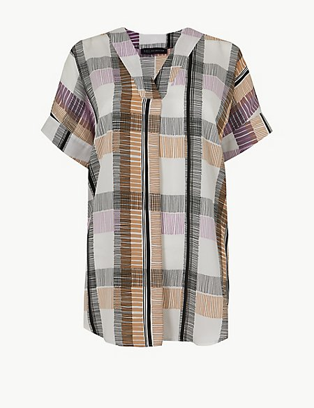 Checked Longline V-Neck Short Sleeve Tunic