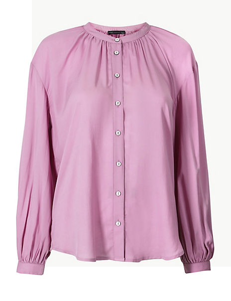 Collarless Blouson Sleeve Blouse