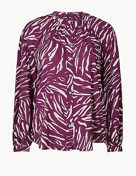 Animal Print Long Sleeve Blouson Blouse