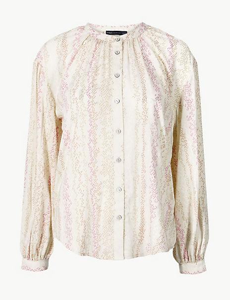 Animal Print Blouson Sleeve Blouse