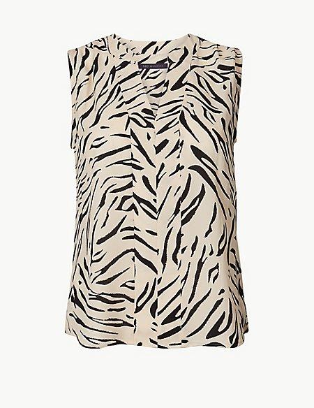 PETITE Animal Print V-Neck Shell Top