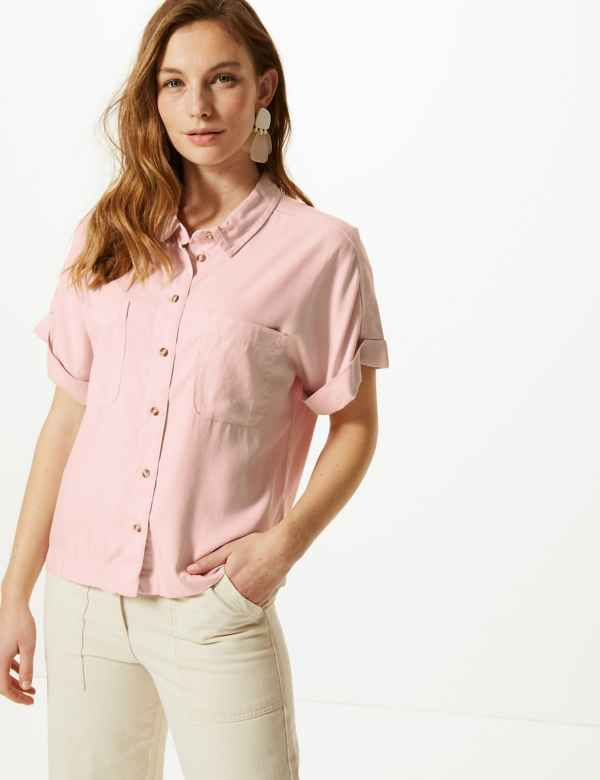 d4edb62ddbc4f Button Detailed Short Sleeve Shirt