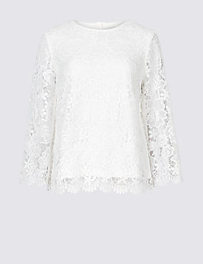 Lace Round Neck Long Sleeve Blouse