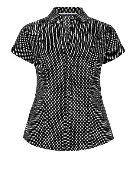Cotton Rich Short Sleeve Spotted Shirt