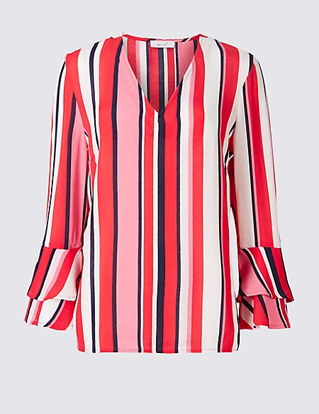 Striped Flute Sleeve Blouse