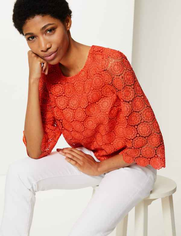 7906ffc25641 Shell Tops | Womens Chiffon & Lace Shell Top Blouses| M&S