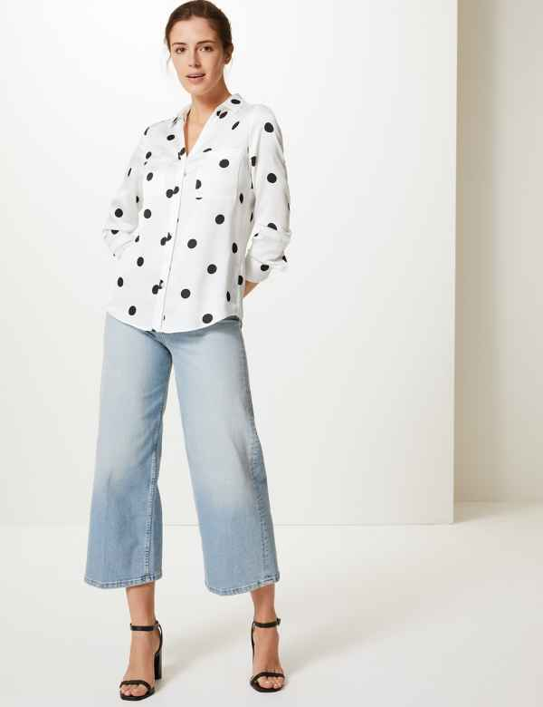 16f6e037eff Polka Dot Button Detailed Shirt