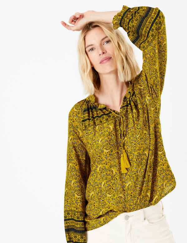 115629172c393c Floral Print High Neck Long Sleeve Blouse. New. M&S Collection