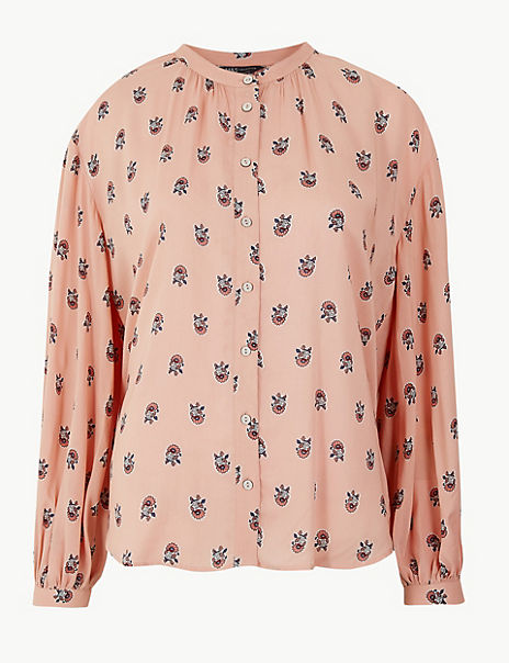 Oversized Printed Blouson Sleeve Blouse