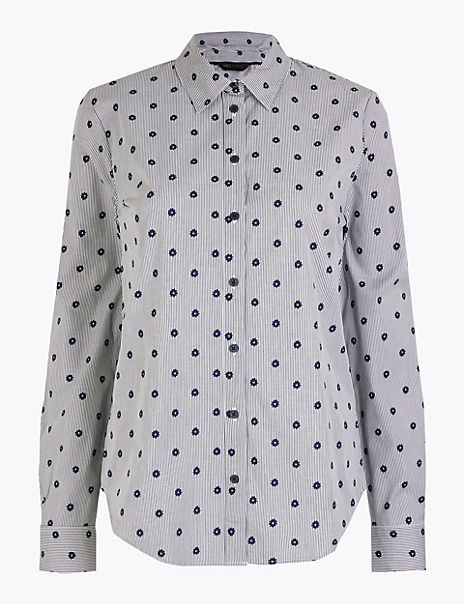 Pima Cotton Slim Fit Striped Star Print Shirt