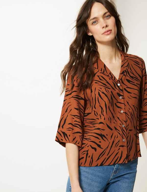 dadb0415d6e Animal Print 3 4 Sleeve Shirt