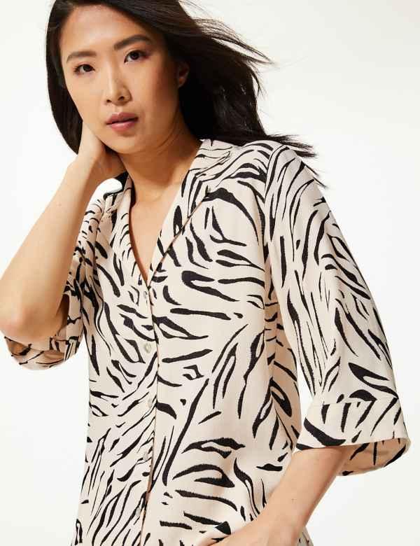 3c0a4d58250f6c Animal Print 3/4 Sleeve Shirt
